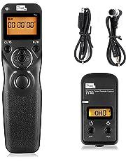 Pixel T9-DC0 / DC2 LCD FSK 2.4GHz con cable y disparador inalámbrico Temporizador de control remoto con dos cables para Nikon D800 serie / D810 serie / 300series / D300s / D700 / D300 / D7200 / D7100