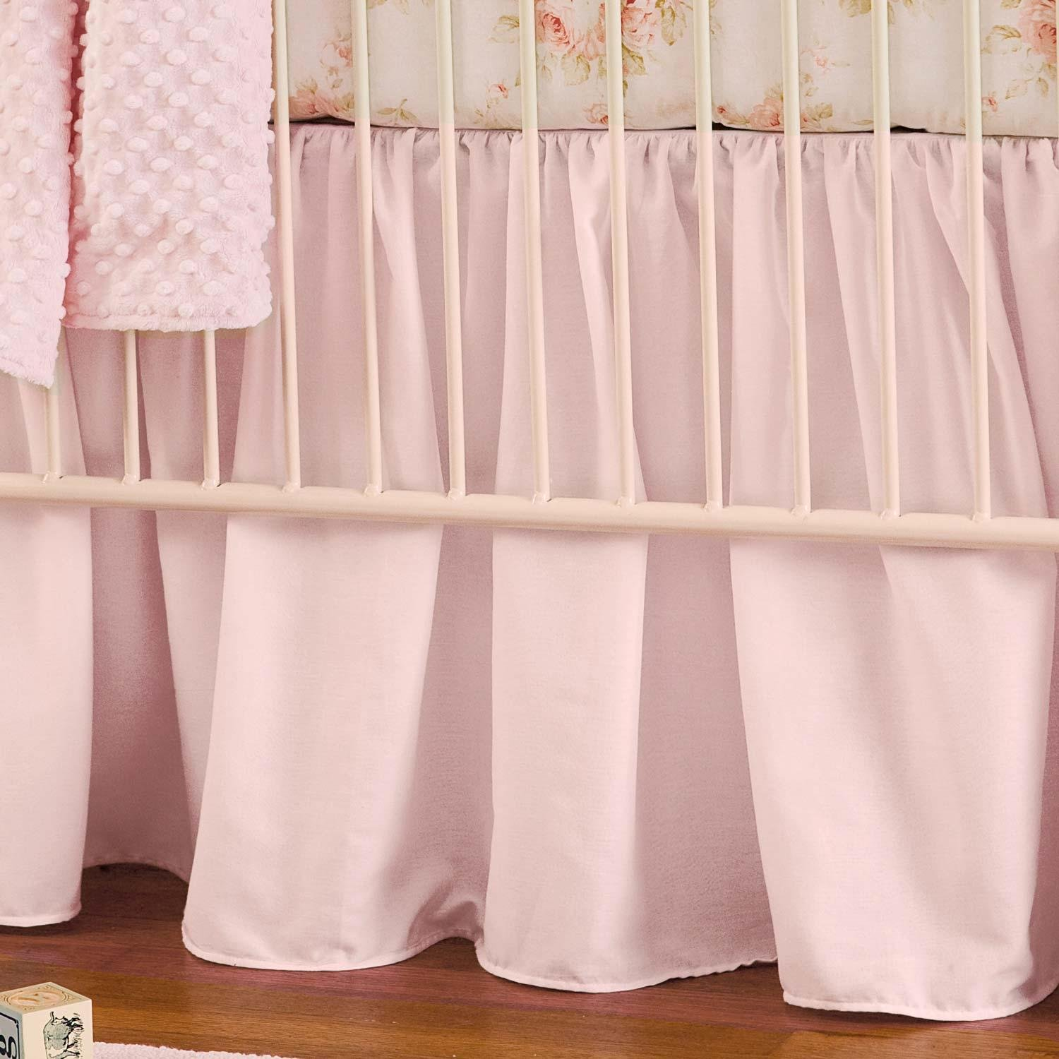 Carousel Designs Solid Pink Crib Skirt Gathered 20-Inch Length by Carousel Designs