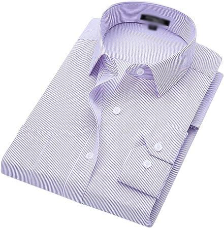 LEZDPP Camisas Camisa de Manga Corta a Rayas de los Hombres de Negocios de Verano Fina Camisa Tocando Fondo Camisa de Color sólido botón Camisa Oxford (Color : A-11, Size : 4XL):