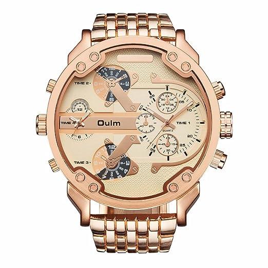OULM marca Military relojes oro rosa gran Dial cuarzo reloj 2 zonas horarias hombres reloj de pulsera de acero inoxidable completo Relogio Masculino: ...