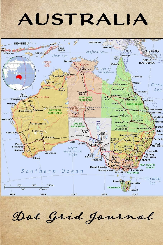 Australia Map Grid.Australia Dot Grid Journal Dot Grid Travel Notebook And Planner