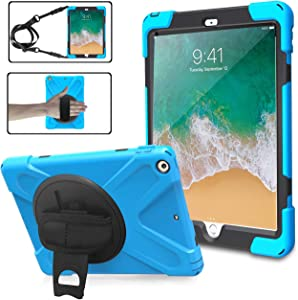 iPad 9.7 Case 2018/2017 for Kids,TSQ Full Body Rugged Protective PC Case with Screen Protector+360 Degree Rotatable Stand/Hand Strap+Shoulder Strap for iPad 9.7 Inch 6th/5th Generation Tablet,SkyBlue