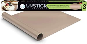 UNSTICK Premium Nonstick Baking Mat, Liner for Roasting Pan & Cookie Sheet, Reusable For Easy Cleaning, Withstands up to 500F, Non-Toxic, 100% PFOA-Free Japanese PTFE Material, 15