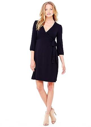 Ingrid & Isabel Womens 3/4 Sleeve Wrap Maternity Dress, Jet Black, X