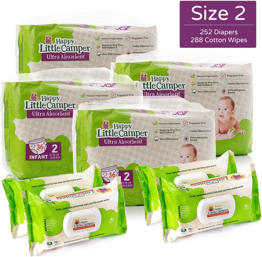 Happy Little Camper Natural Diapers, Cotton Wipes, Monthly Pack, Size 2, 252Count