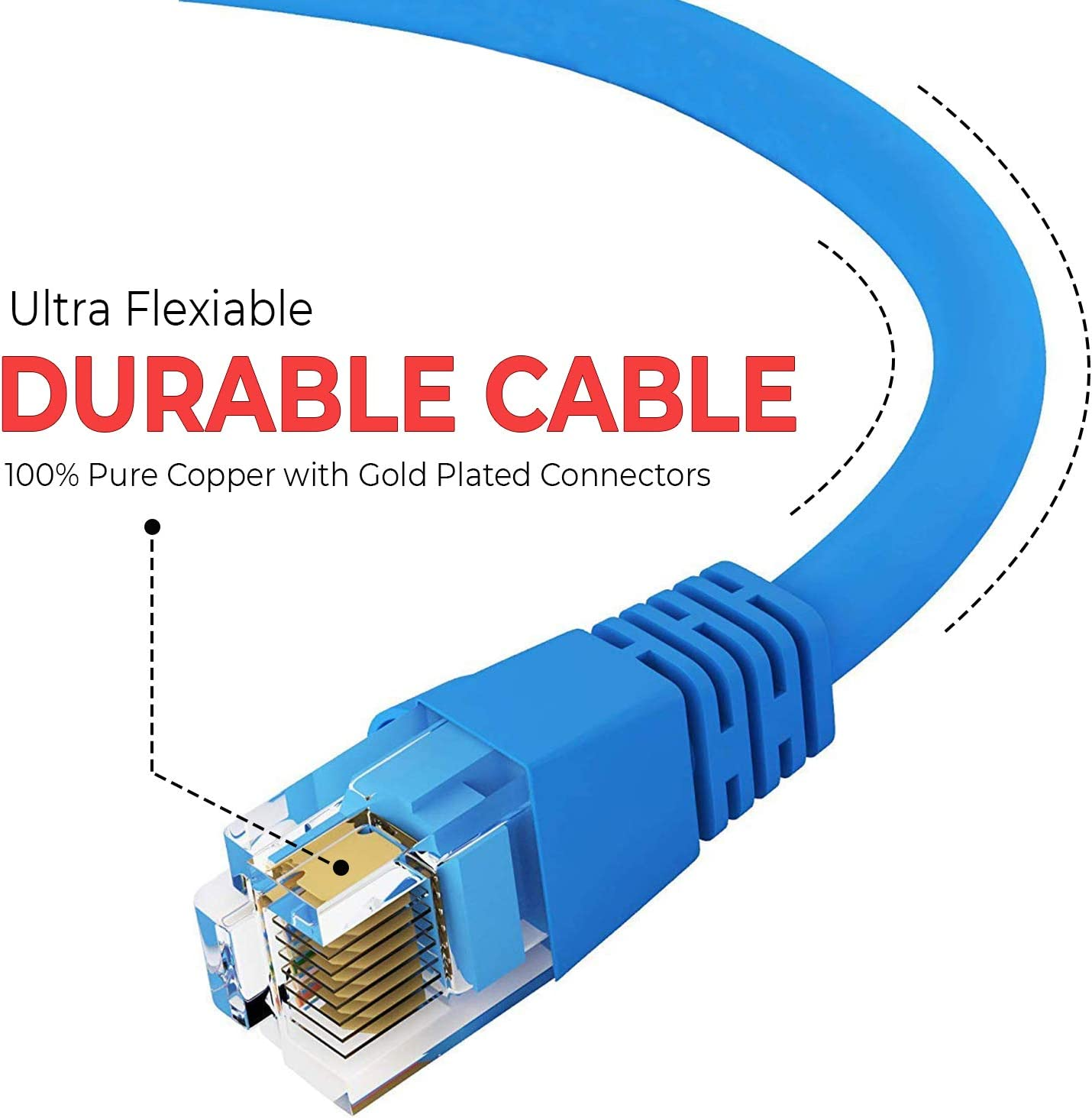 24AWG Network Cable with Gold Plated RJ45 Non-Booted Connector 10-Pack - 3 Feet 1Gigabit//Sec High Speed LAN Internet//Patch Cable GOWOS Cat5e Ethernet Cable 350MHz Gray