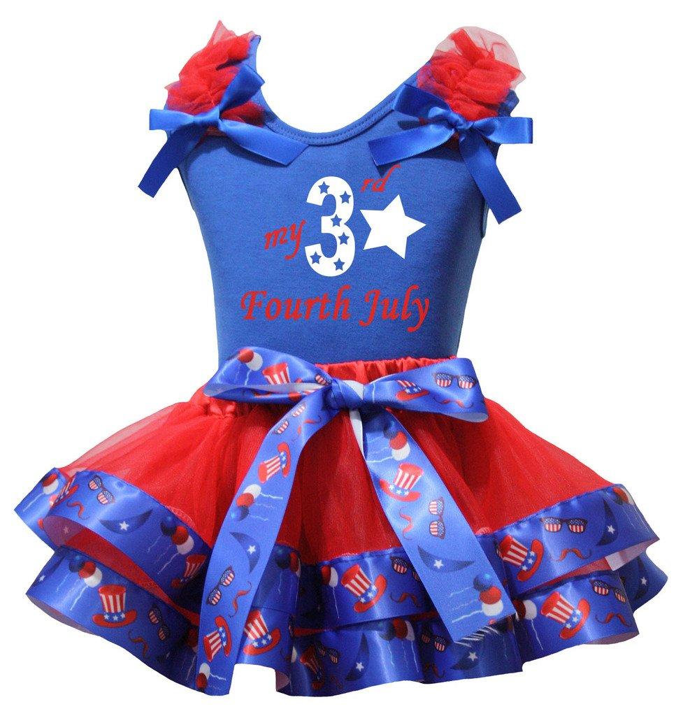 Petitebelle Mi tercera camisa de julio del cuarto de EE.UU. Sombrero pétalo rojo de la falda de Nb-8y 1-3 años Azul
