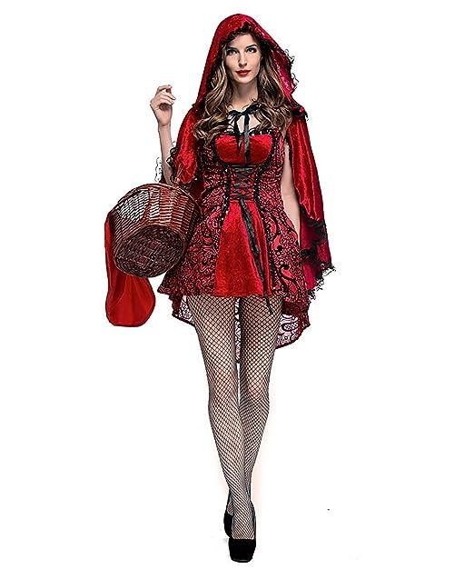 LaLaAreal Disfraz Caperucita Roja Gótico Mujer Vestido de Fiesta para  Halloween Carnaval Actuación con Capa ( 0a45f97cad5b