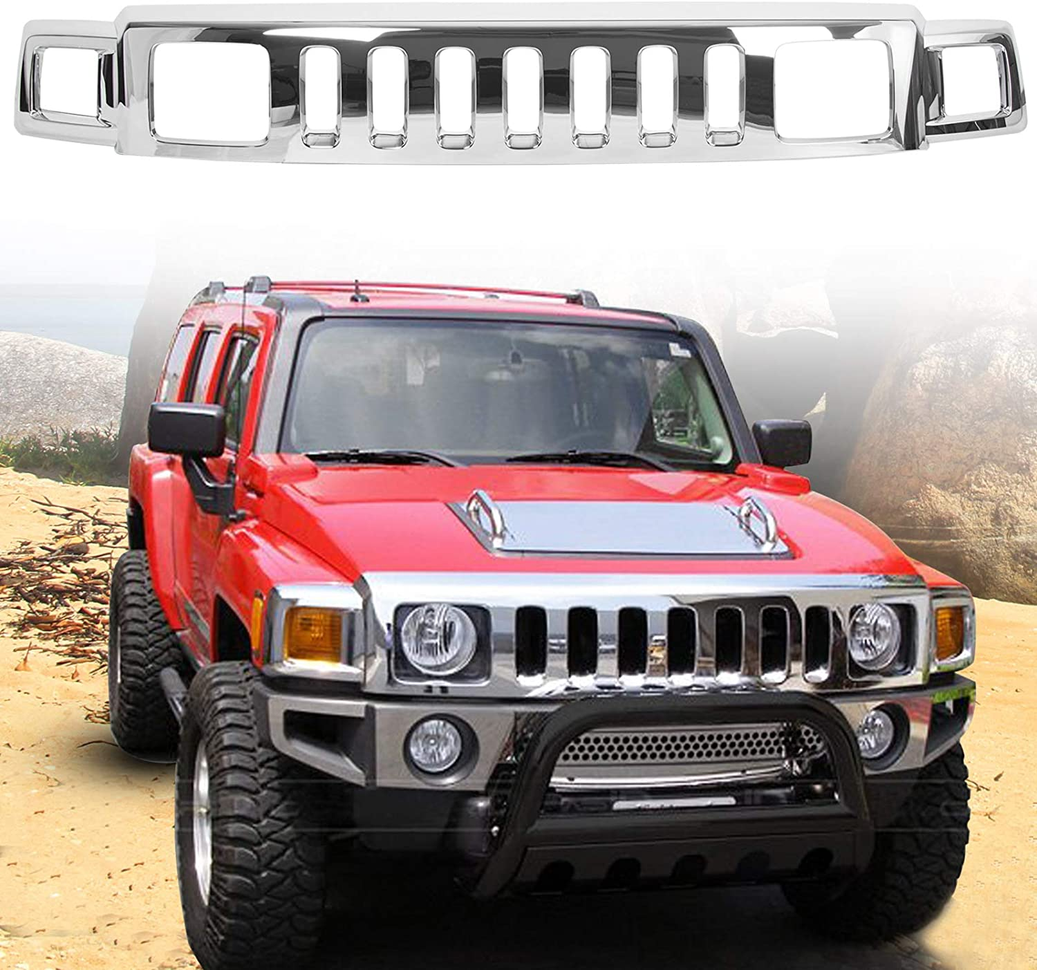 ECOTRIC Front Chrome Grille Face Bar Assembly/ for 2006-2010 Hummer H3 Replacement for Hu1200101