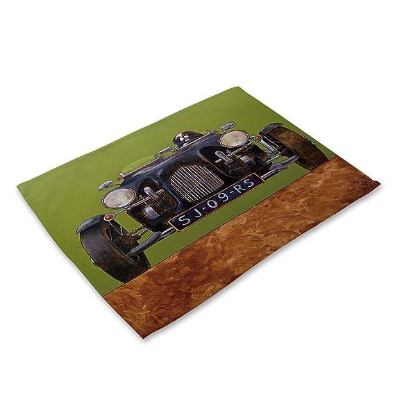 Compra Paño de lino aislamiento colchones de dibujos animados de coches retro vajilla esteras Cotton tela de lino + tela de la comida occidental Estera del ...
