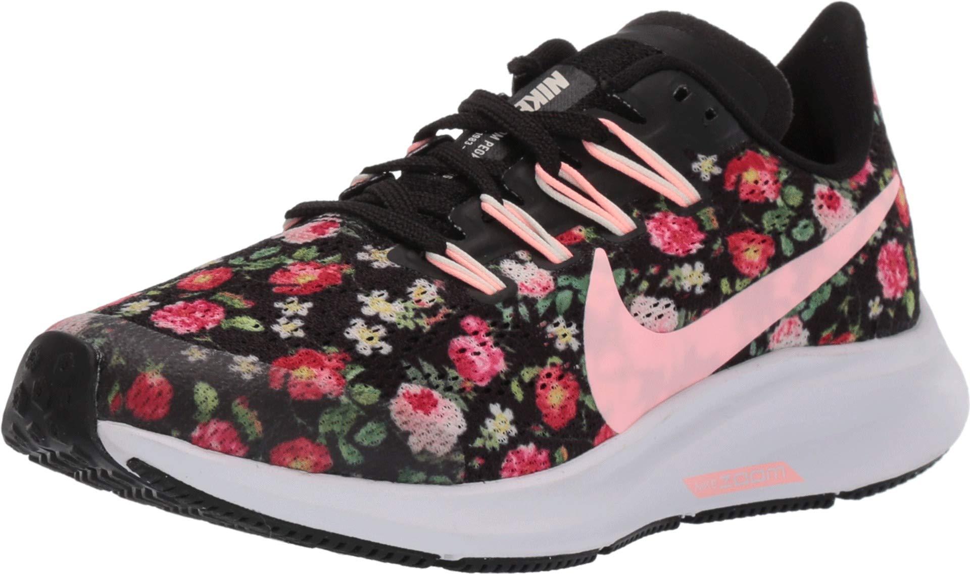 Nike Kids' Grade School Air Zoom Pegasus 36 Vintage Floral Running Shoes (4.5, Black Floral)