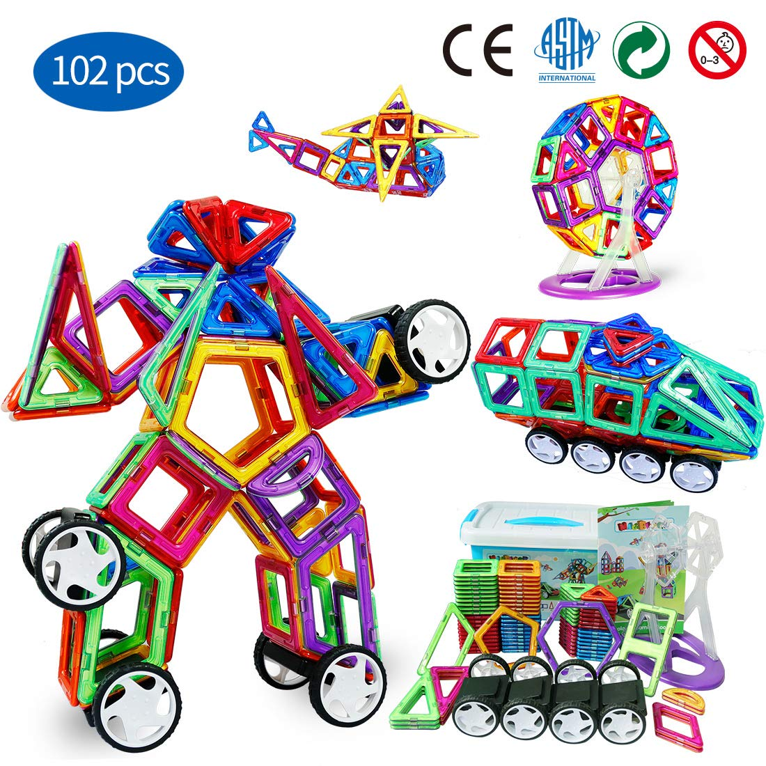 Magnetic Blocks STEM Educational Gifts and Toys Set for Boys,Magneitc Tiles are Best Birthday Gift for Kids 102PCS