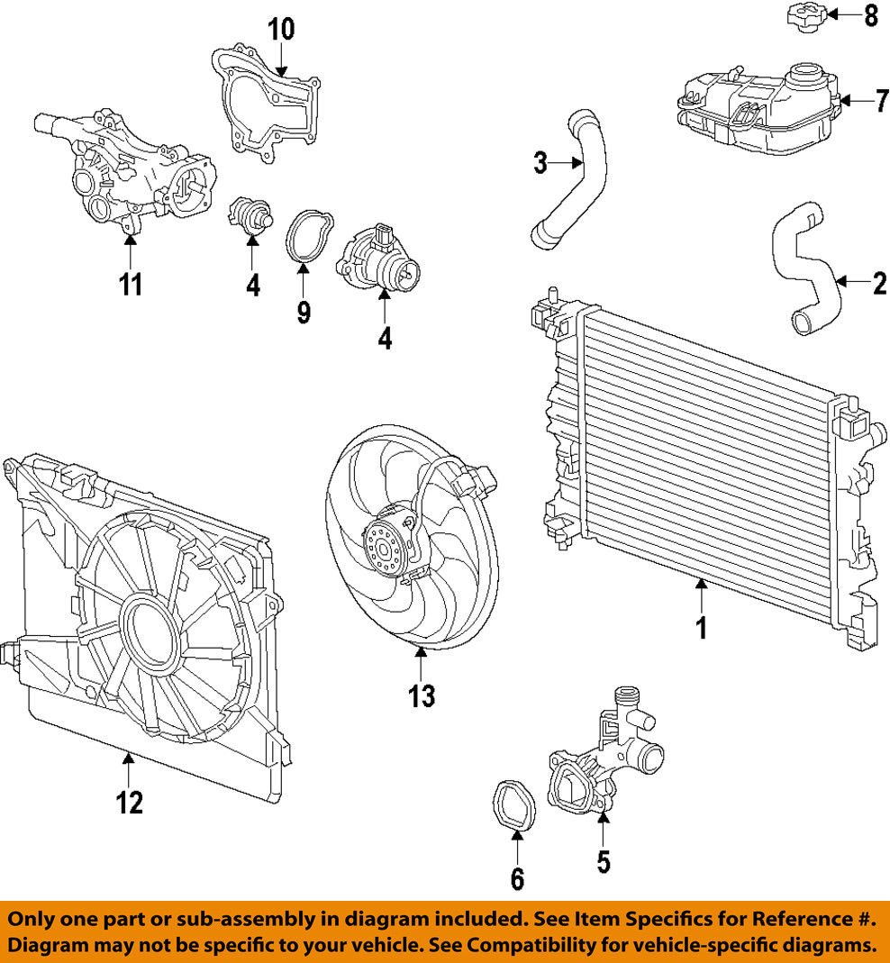 General Motors 55562045 Engine Coolant Outlet Gasket Automotive Diagram