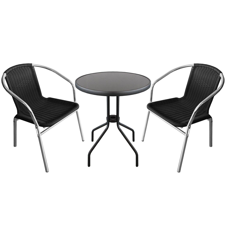 3-teilige Sitzgruppe Sitzgarnitur Glastisch Ø60xH71cm + 2x Aluminium Stapelstühle mit Polyrattanbespannung