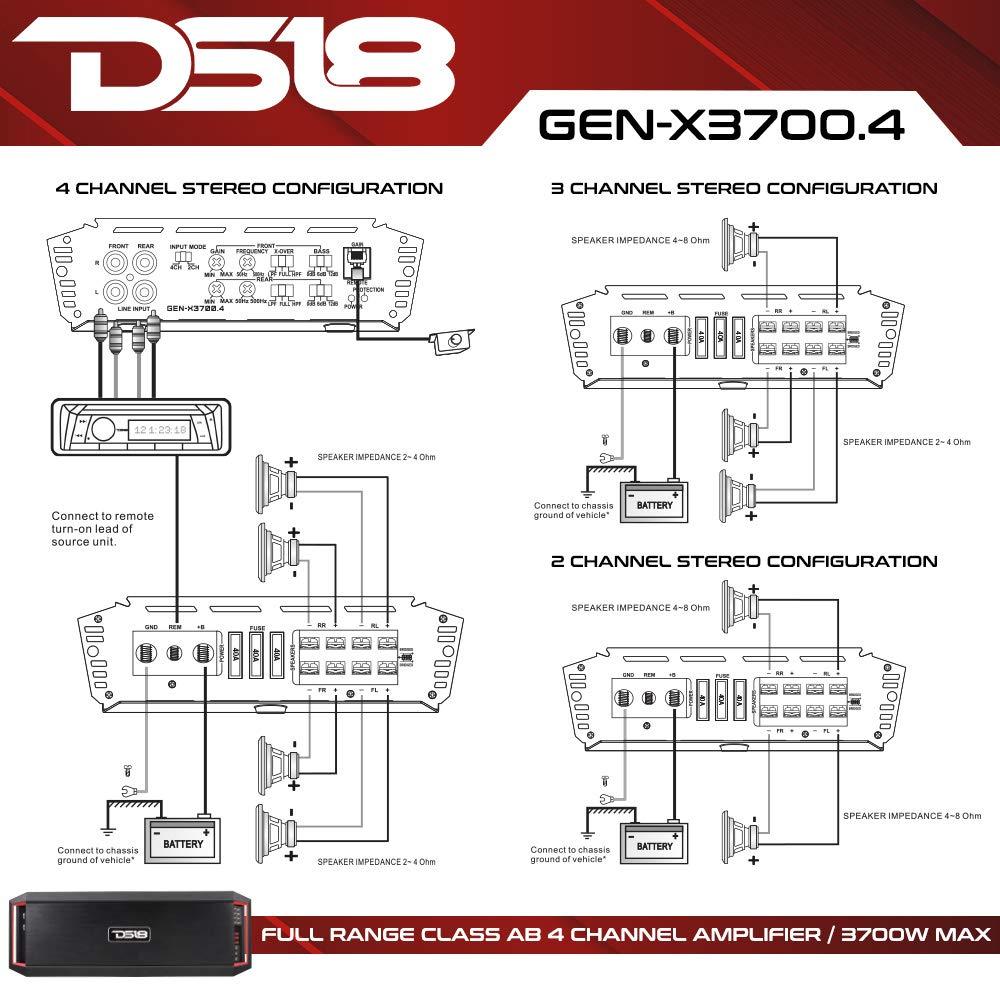 DS18 3700 W 4 Canal Coche Amplificador de Audio Bass Remote único Knob: Amazon.es: Electrónica