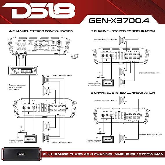 Amazon.com: DS18 GEN-X3700.4D Full Range Bridgeable 4-Channel 3700w on amplifier wiring diagram, amp diagram, car amplifier diagram, burglar alarm wiring diagram, pioneer stereo wiring diagram, microcontroller diagram, evoc course diagram, 12 volt parallel battery wiring diagram, power amplifier diagram, bridge subwoofer wiring diagram, amplifier microphone, car battery diagram, amplifier block diagram, stereo amplifier diagram, amplifier parts, amplifier audio, amplifier symbol diagram, car audio setup diagram, amplifier installation, sound amplifier diagram,