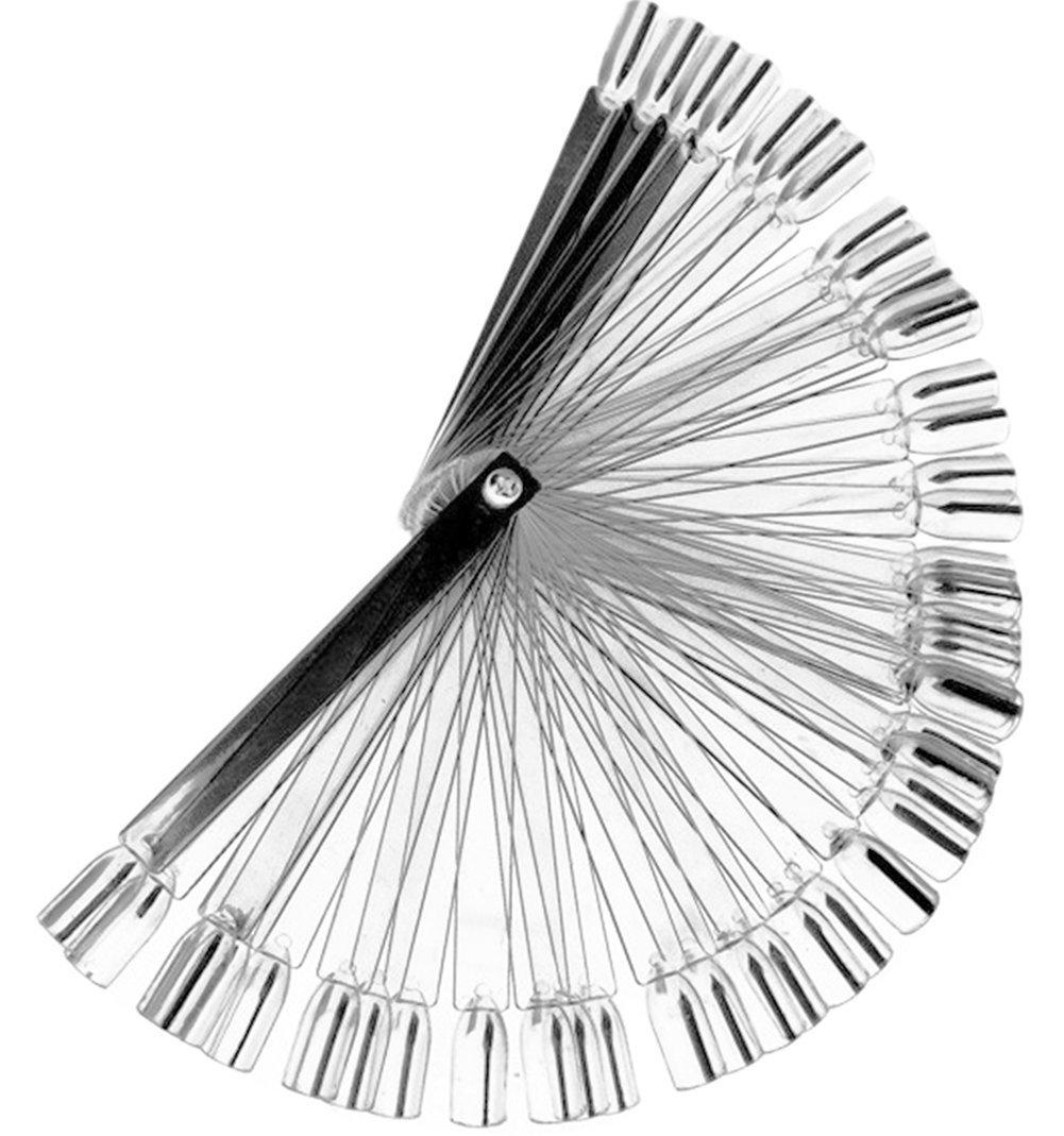 daorier Ventaglio in espositore unghie finte batonnets trasparente Show Nail Art strumento 1Set of 50pcs, PP, bianco, Bianco