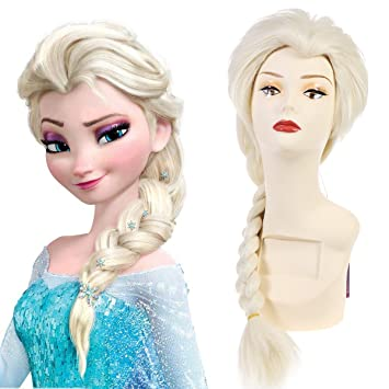 SARLA Frozen Elsa Princess Cosplay Wig Snow Queen For Adult Synthetic Movie  Long Blonde Costumes Party Halloween Braided Hair Wigs (Elsa For Adult)