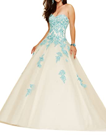 Gemila Womens Sweetheart Lace Applique Ball Gown Sequined Floor Length Long Prom Dress Ivory US2