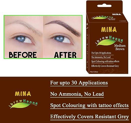 Mina Eyebrow Henna - Kit de tinta y pack regular para un efecto de color de larga duración