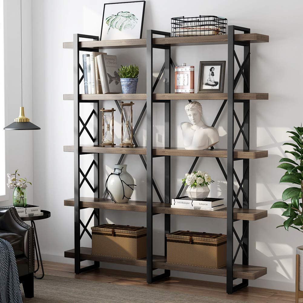 LITTLE TREE 5-Tier Double Wide Open Bookcase, Solid Wood Industrial Large Metal Bookcases Furniture, Vintage 5 Shelf Bookshelf Etagere Book Shelves for Home Office Decor Display, Retro Brown by LITTLE TREE