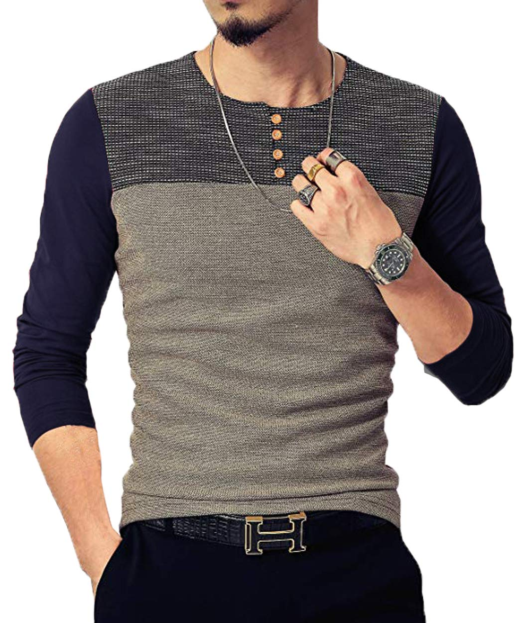 Neoyowo Mens Patchwork Shirt Long Sleeve Contrast Color T-Shirt Casual Stitching Buttons Henley Tops (Navy Blue, S)
