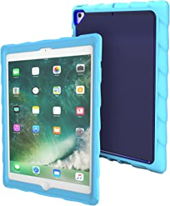 Gumdrop DropTech Clear Case Designed for The Apple iPad 9.7 (6th Gen and 5th Gen) Tablet for K-12 Students, Teachers, Kids - Light Blue/Royal Blue, Rugged, Shock Absorbing, Extreme Drop Protection