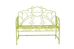 Sunjoy Frog Bench Made of Iron, Yellow