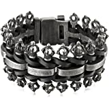 MunkiMix Stainless Steel Genuine Leather Bracelet Bangle Black Royal King Crown Braided Adjustable Biker Men