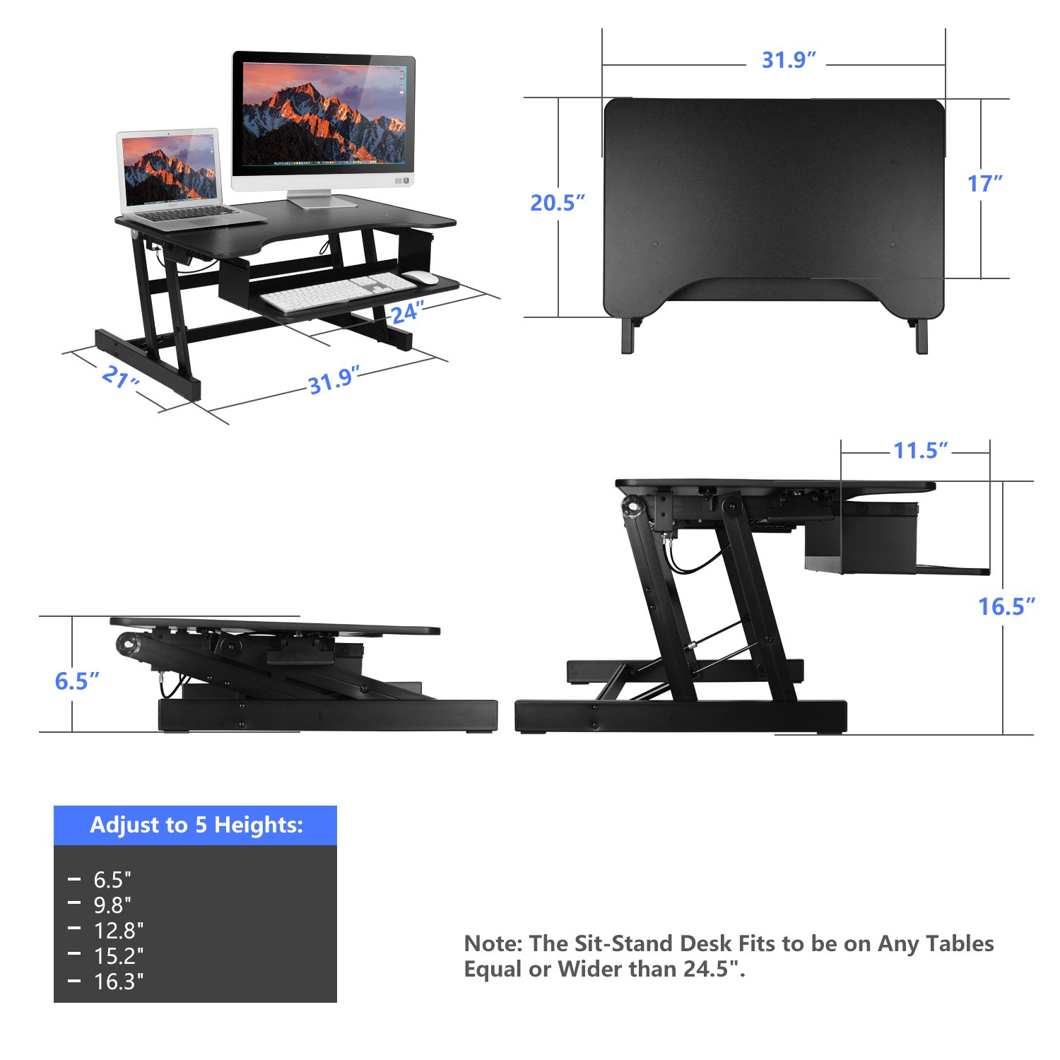 SMONET Desk Riser Height Adjustable Standing Desk Sit Stand Up Converter Laptop Stands Large Wide Desk Riser, 32 Tabletop Workstation Foldable fits Dual Monitor with Retractable Keyboard Tray – Black