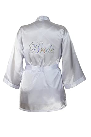6d44f8d3466 Amazon.com  Dreamgirl Women s Bridal Charmeuse Robe with Chemise and ...