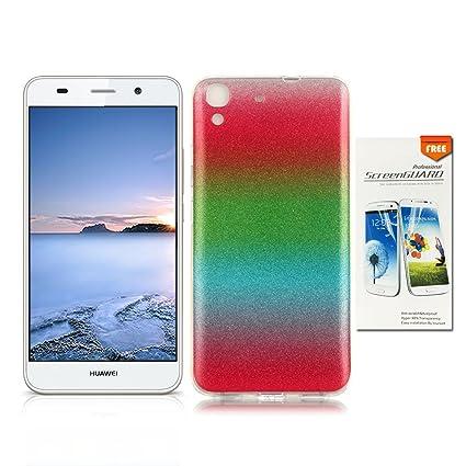 OuDu Funda para Huawei Y6 Carcasa de Gradient Color con Polvo del Brillo Caso Silicona TPU Funda Suave de Proteccion (Regalo:1 Protector de Pantalla) ...
