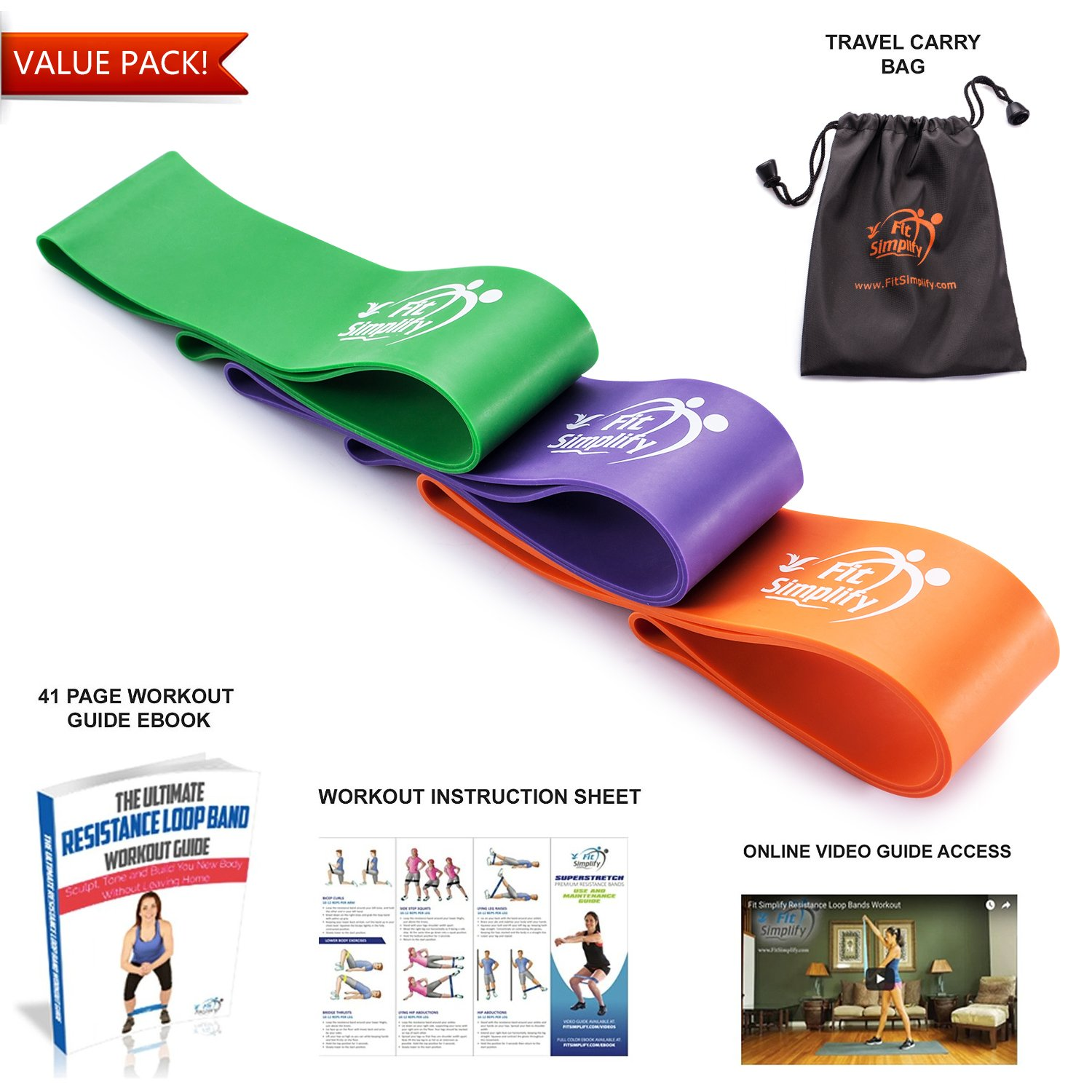 14731a5395f9 Amazon.com : Fit Simplify Resistance Loop Bands Pro Series - Highest ...