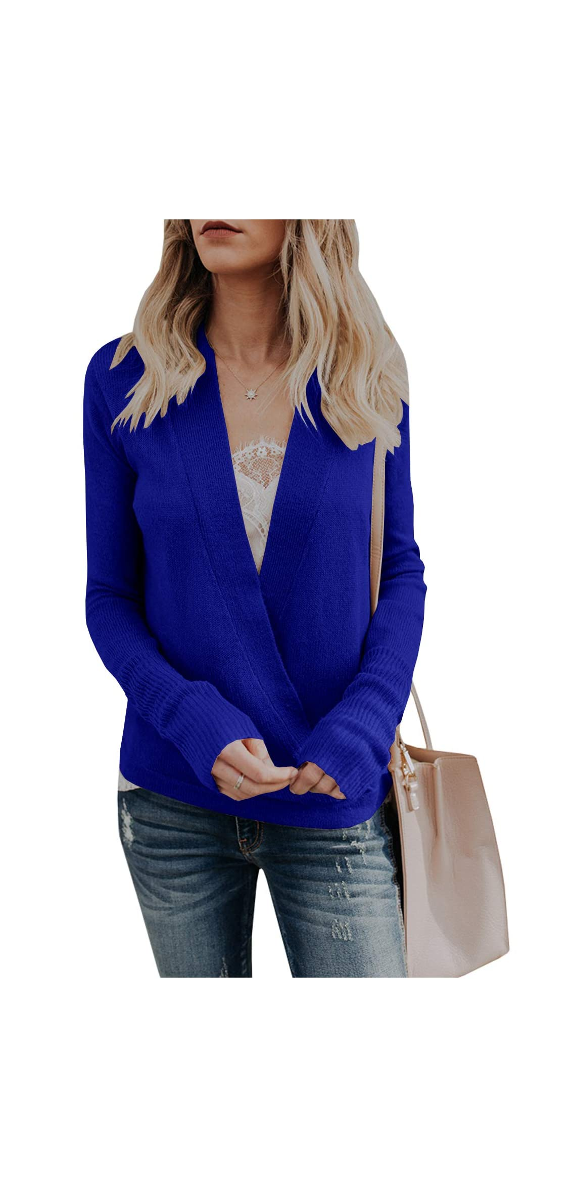Womens Wrap Deep V Neck Sweater Knitted Long Sleeve