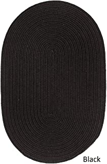 product image for Rhody Rug Woolux Wool Oval Braided Rug (8' x 11') - 8' x 11' Oval Black