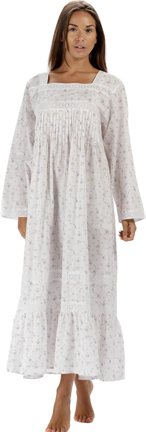 Victorian Nightgowns, Nightdress, Pajamas, Robes The 1 for U 100% Cotton Victorian Style Nightdress with Pockets - Violet- XS - XXXL £34.99 AT vintagedancer.com