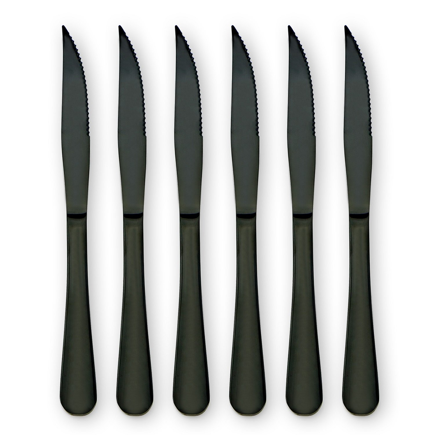 6-Pieces Stainless Steel Steak Knives Set-Use for Home Kitchen or Restaurant (Black)