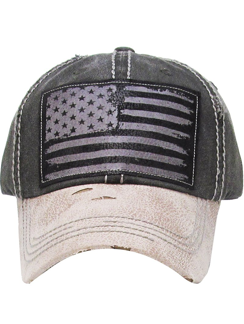 RI001 AMERICAN FLAG DISTRESSED AND FADED HAT AND CAP