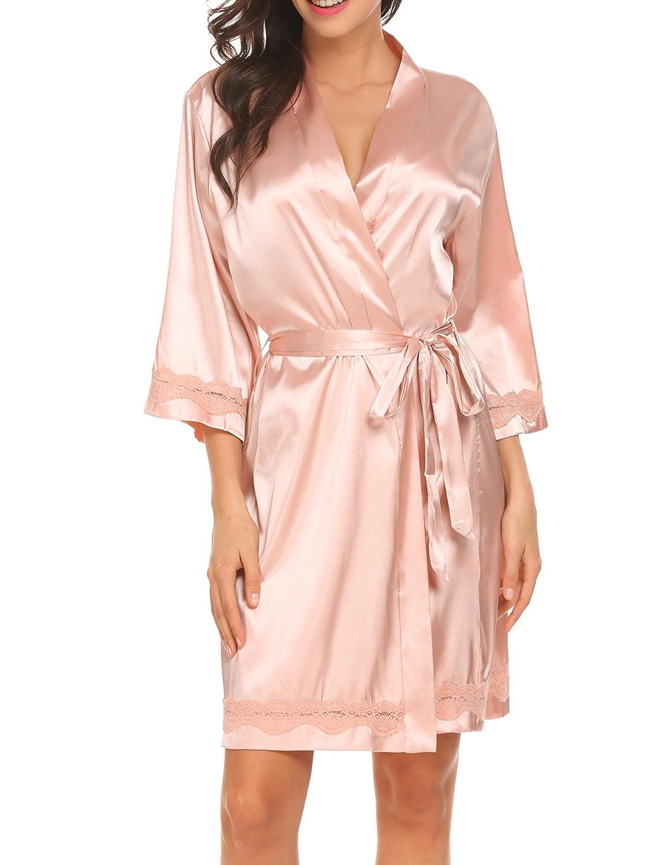 Hotouch Bata de satén para mujer, kimono, albornoz, camisón, ropa de noche, set pijama de seda, con decoración de flores: Amazon.es: Ropa y accesorios