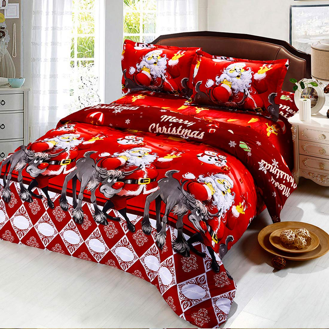 Oliven 4 Pieces 3D Christmas Bedding Set Twin Size Cartoon Santa Claus Duvet Cover Flat Sheet Standard Pillowcases-Red,Christmas Home Decor