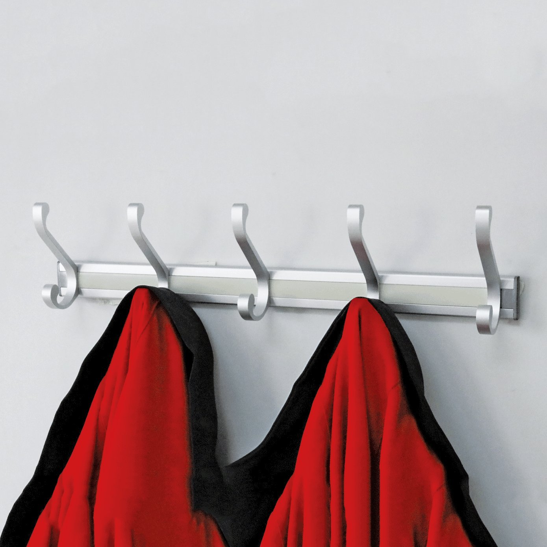 Wall Mounted Coat Hooks And Hat Rack Detached 5 Hooks White Finish Satin Nickel Hooks