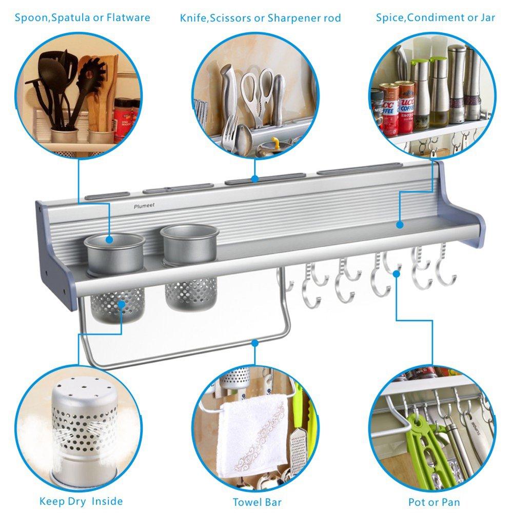 Kitchen Wall Pot Pan Rack Plumeet 5 In 1 Mounted Loft Light Wiring Diagram Hanging Organizer With 10 Hook 4 Knife Holder 2 Utensil Cup Spice