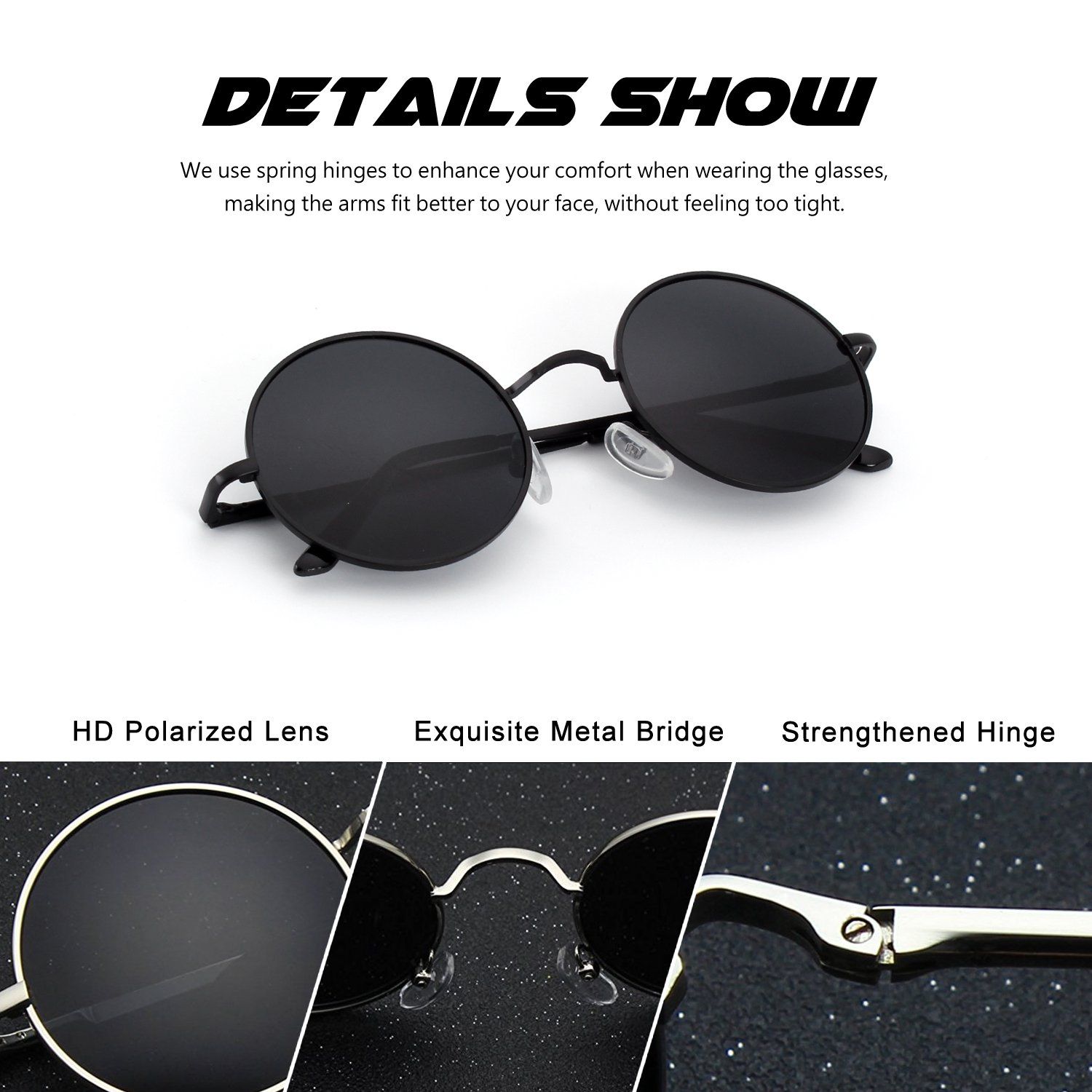 CGID E01 Retro Vintage Style John Lennon Inspired Round Metal Circle Polarized Sunglasses with Gift Package