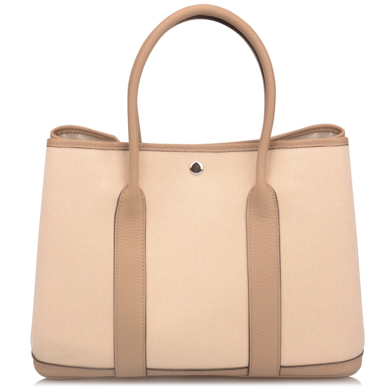 Ainifeel Women's Genuine Leather Top Handle Handbag Shopping Bag Tote Bag (Taupe(leather+canvas)) by Ainifeel (Image #2)