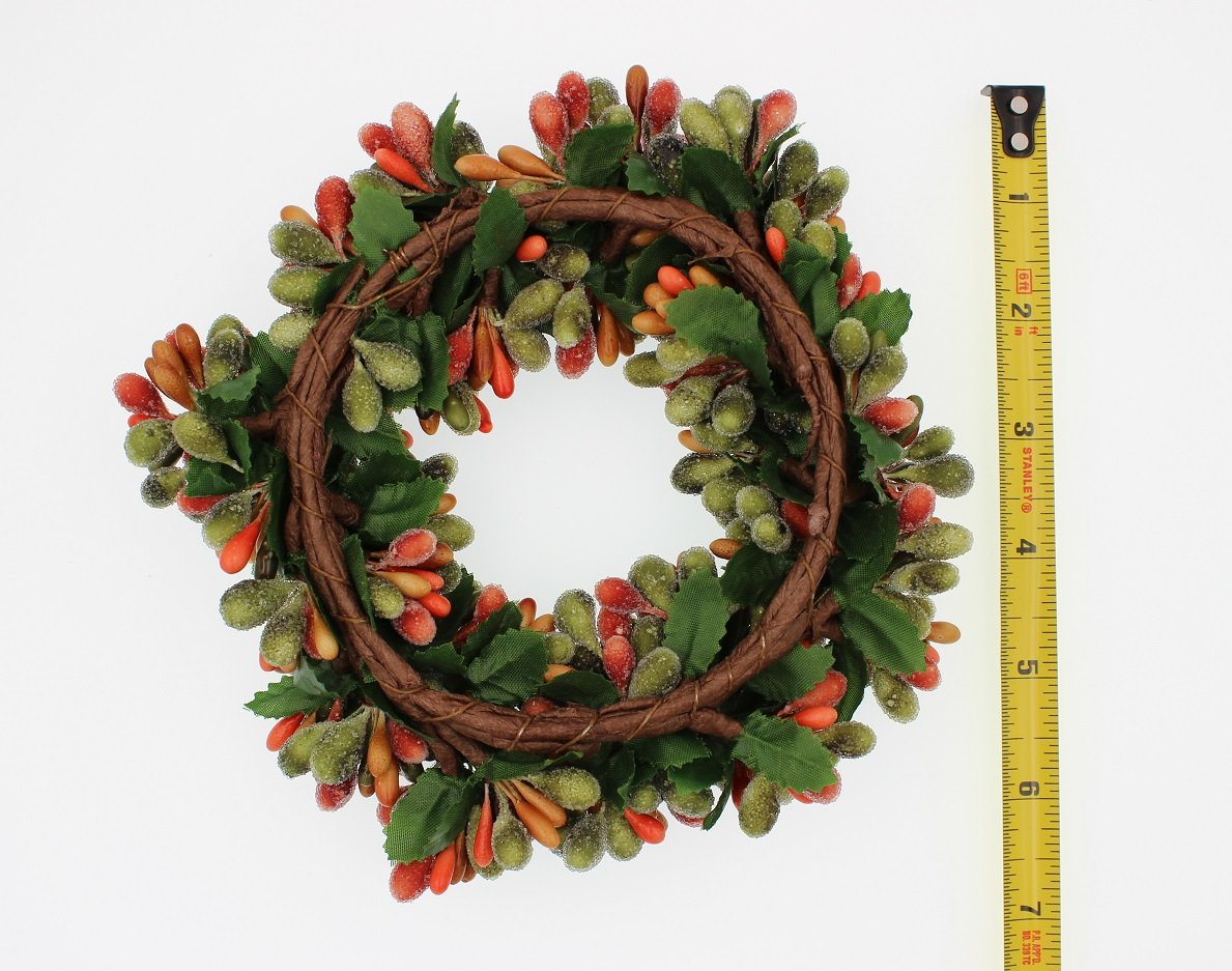 65-inch-Beaded-Berry-Wreath-Candlering-Candle-Ring-Fall-Green-Orange-Brown