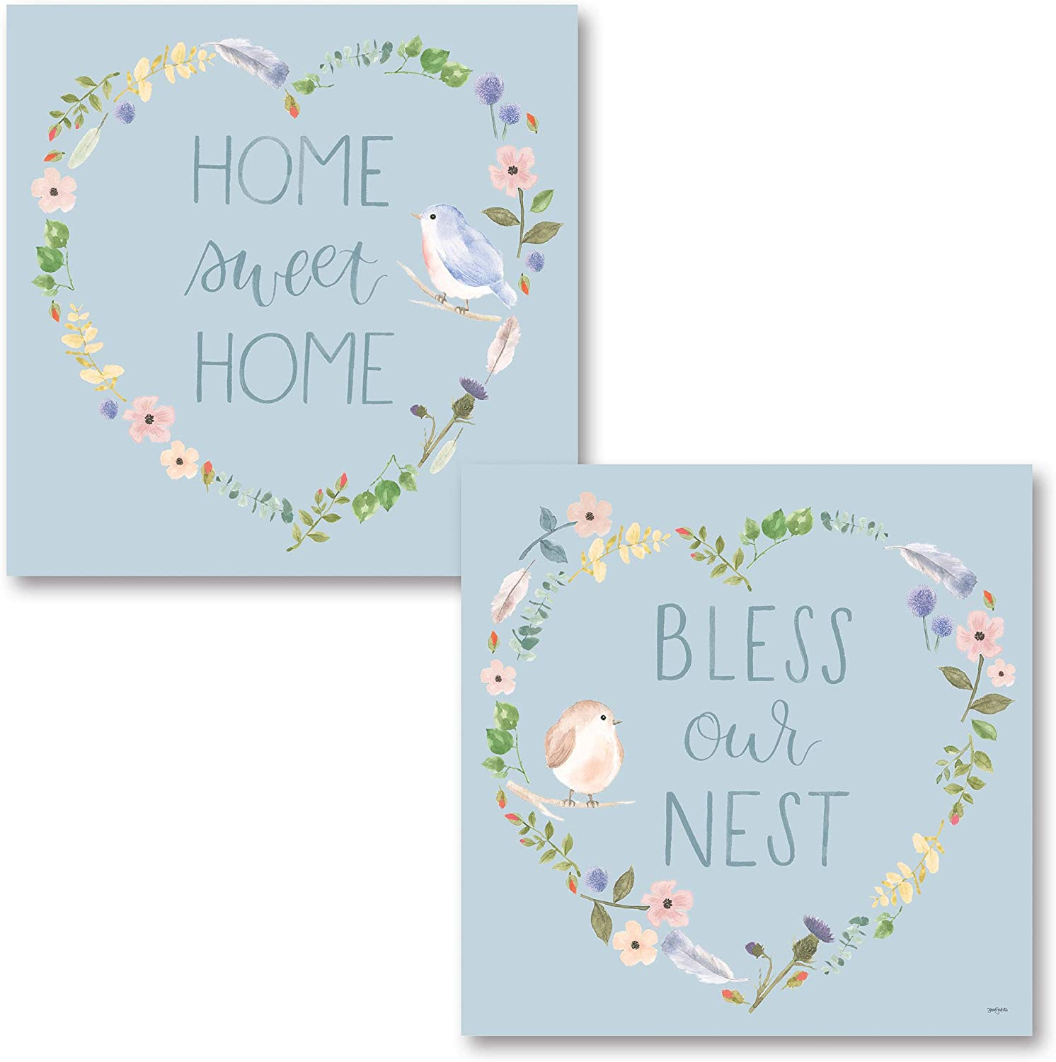 """Blue Floral Heart Wreath 'Home Sweet Home"""" and """"Bless Our Nest"""" Bird Print Set; Two 12x12in Unframed Paper Posters"""