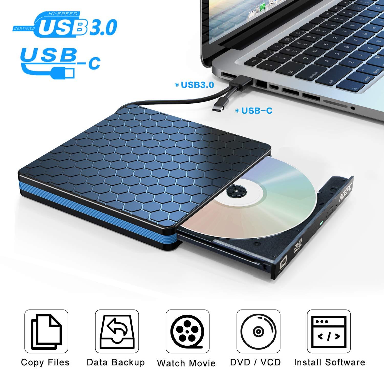 External DVD Drive,ACEPC Optical Drive with USB 3.0 & USB C for Desktop PC Laptop Superdrive External CD DVD+/- RW Burner Writer Optical Drive Support WIN98/XP/ WIN7/ WIN8/,WIN10/ XP/Vista/Mac 10 OS