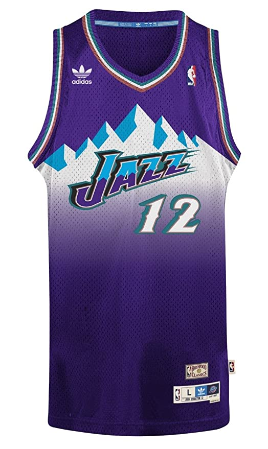 John Stockton Utah Jazz Adidas NBA Throwback Swingman Mountains Jersey – Purple, NBA, Color