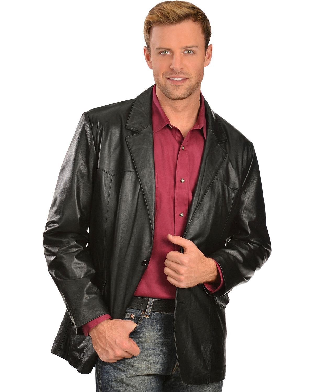 Scully Men's Lamb Leather Blazer Regular Black 44 R