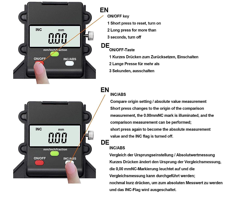 medidor de profundidad de pie con pies magn/éticos, medidor de profundidad y alt/ímetro de 0 a 80 mm, perfecto para madera y maquinaria de construcci/ón TRZ Medidor digital de profundidad de perfil